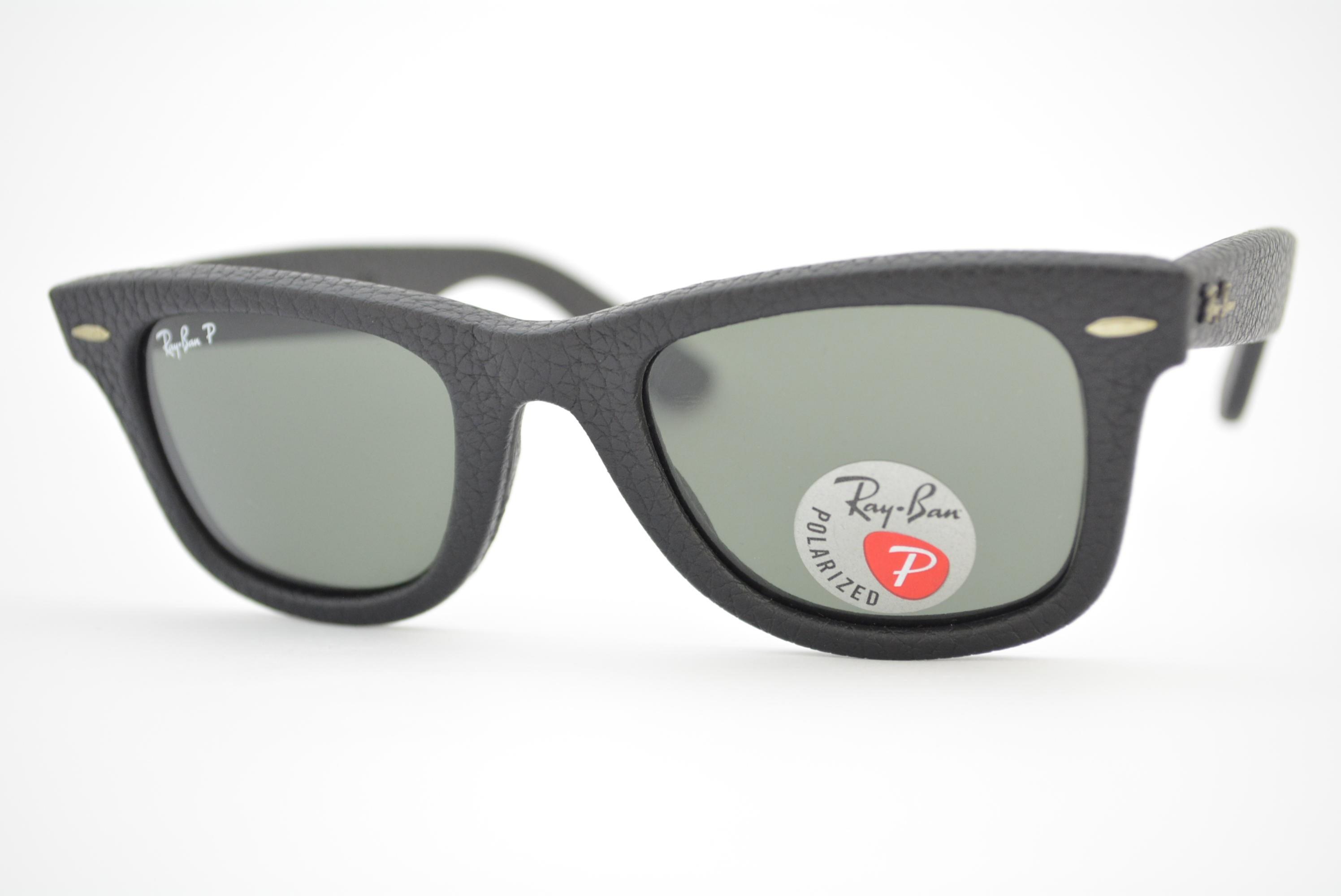 8f3bb67ef óculos de sol Ray Ban WAYFARER Leather mod rb2140-Q-M 1152/N5 Polarizado