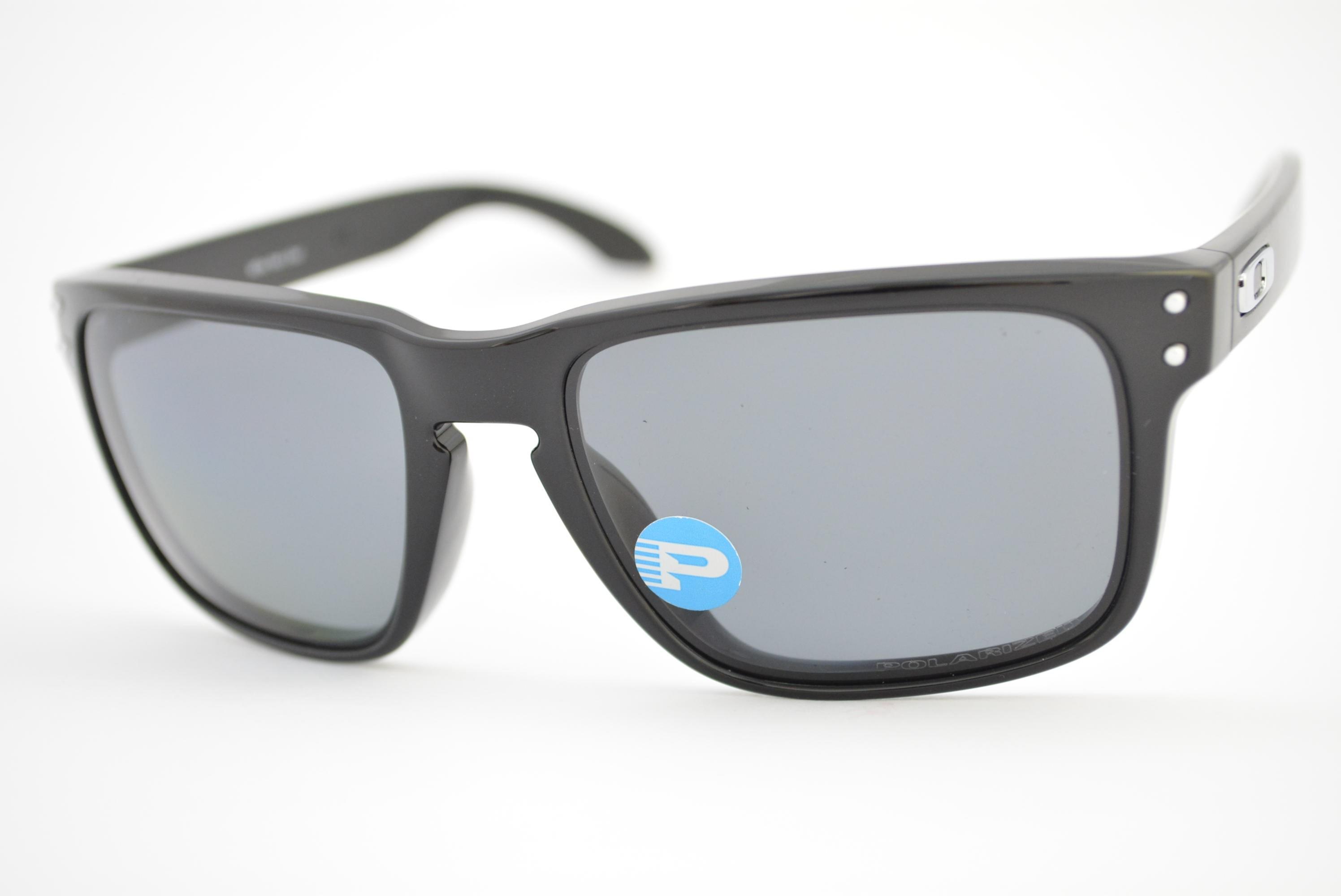 óculos de sol Oakley mod Holbrook polished black w grey polarized 009102L-02 64f8024bee