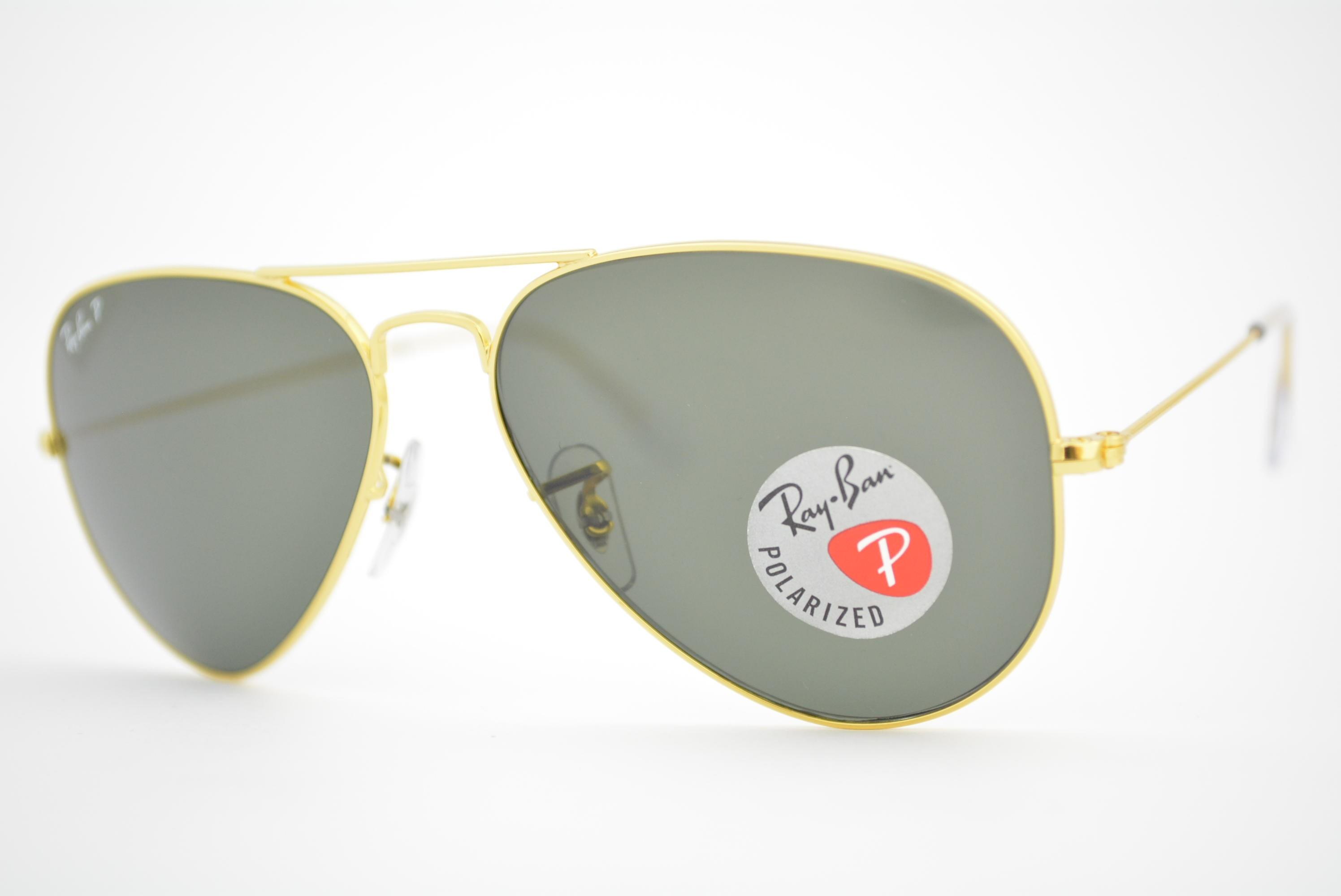 óculos de sol Ray Ban aviator large mod rb3025L 001 58 tamanho 58 Polarizado b3b76a67b8