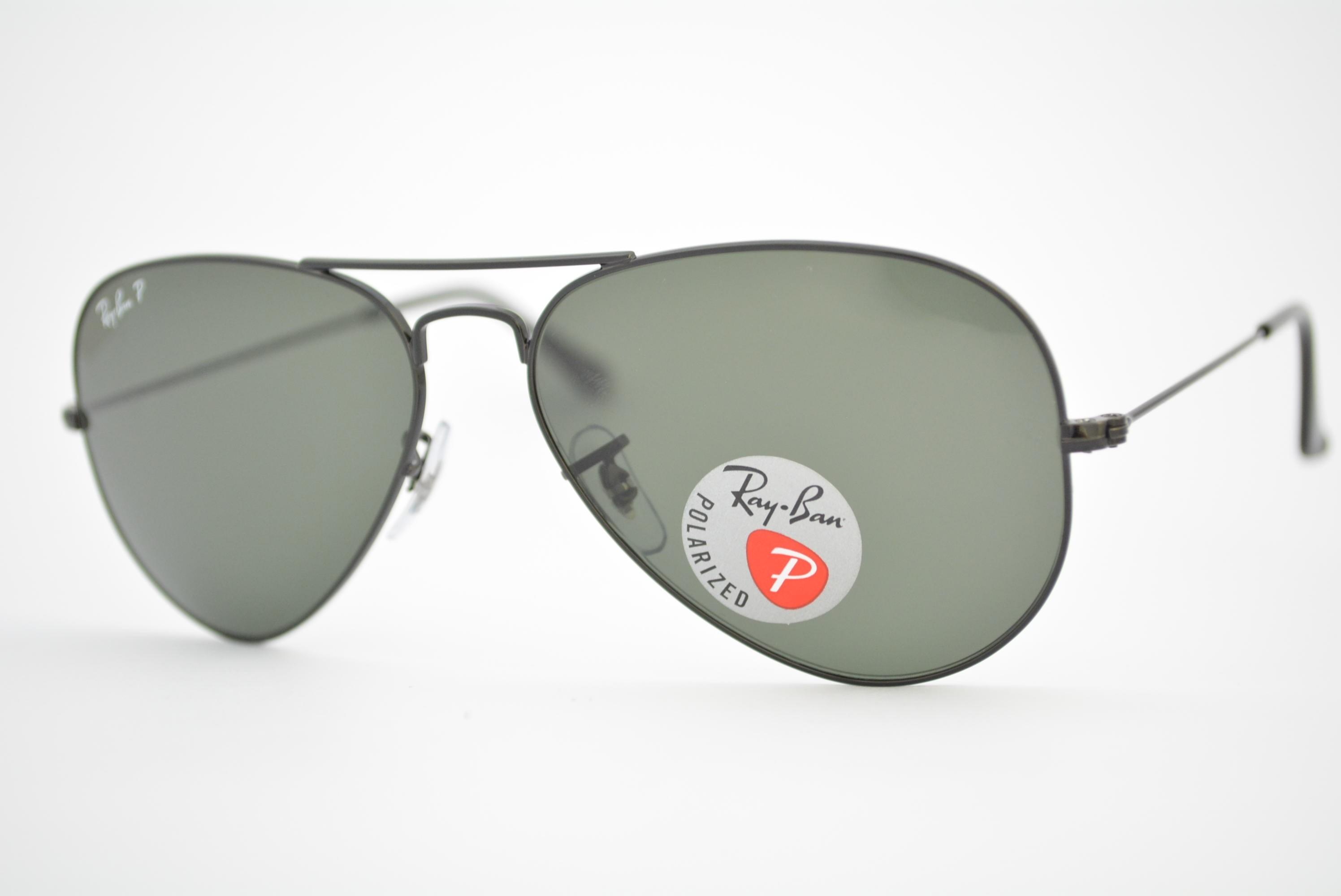 óculos de sol Ray Ban aviator large mod rb3025 002/58 tamanho 55 polarizado